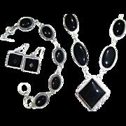 SALE Onyx Necklace/Bracelet/Earring Set