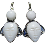 SALE White Agate Carved Face Earrings