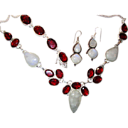 SOLD Ruby Colored Crystal/Moonstone, Necklace, Bracelet/Earring Set