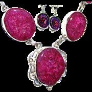 SOLD Fuchsia Druzy Necklace/Dichroic/Earring Set