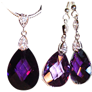 SOLD Amethyst Crystal Teardrop Necklace/Earring Set