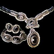 SALE Vintage 3 Pc. Leather/Concho, Black Onyx Necklace/Bracelet/Earring Set