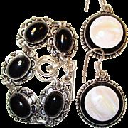 SOLD Black Onyx Bracelet/Onyx/Mother of Pearl Earrings/ Set