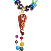 SOLD Brecciated Jasper Pendulum Chakra Colors/Lampwork Beads/Sterling Necklace