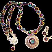 SALE Mystic Topaz with Swarovski Crystal Necklace/Earring Set