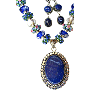 SOLD Lapis Earrings, Bracelet, Pendant with Lampwork Beads on Silver Chain