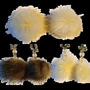 SALE 3 Vintage Pairs of Mink Earrings /1 Ring