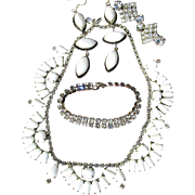 SALE Vintage Kramer Baguette Shaped Milkglass Necklace and Crystal Earrings