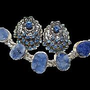 SOLD Vintage Blue Earrings and Druzy Bracelet