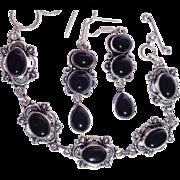 SALE Black Onyx Bracelet and Earring Set