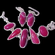 SALE Fuchsia Botswana Striped Agate Bracelet/Earring Set