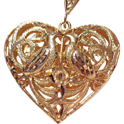 SALE Vintage Gold Tone Heart Pendant with Doves