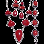 SOLD Coral Colored Stones, Sterling Necklace, Bracelet & Earring Set