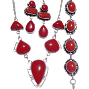 3 Piece Coral Colored Stones, Sterling Necklace/Bracelet/Earring Set