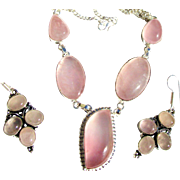 SALE Rose Quartz Necklace and Earring Set