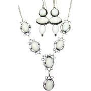 SOLD White Agate Necklace/Earring Set
