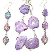 SOLD Lavender Druzy Necklace and Dichroic Glass Earrings