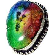 SOLD Colorful Enhanced Druzy Ring-Sz-9 1/4
