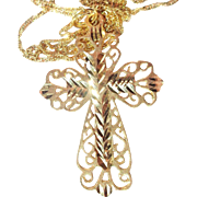 Vintage 14K Gold Filigree Cross with Chain