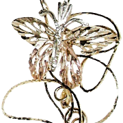 "Tri Colored 14 K Gold Butterfly Pendant with 20"" 14k Diamond Cut Chain"