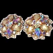 SOLD Vintage Hobe Aurora Borealis Crystal Earrings
