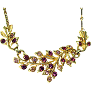 SALE Vintage Coro Gold Tone/Purple Necklace