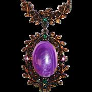 Vintage Oval Purple Stone Necklace on Copper Colored Pendant/Chain