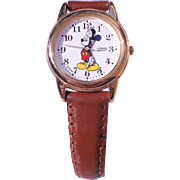 SALE Vintage Disney Mickey Mouse Watch With Leather Band-Never Worn