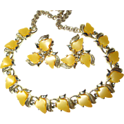 SALE Vintage Yellow and Goldtone Leaf Choker/Necklace/Earrings