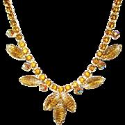 Vintage Goldtone Rhinestones and Leaves Necklace