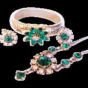 Vintage Goldtone Stretch Bracelet With Rhinestones