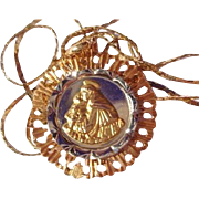 SALE Vintage18K Gold St. Christopher Medallion with 18K Gold 24 inch Chain