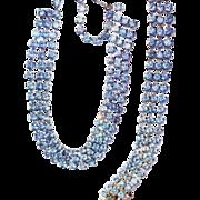 Vintage Baby Blue Rhinestone 3 Strand Necklace and Bracelet