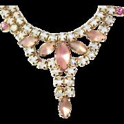 Vintage, Peach Opalescent Necklace/Earring Set