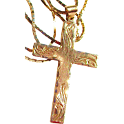 14k Gold Diamond Cut Etched Cross