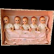 "SOLD The ""Fischer Quintuplets"" in Original Box Madame Alexander c.1964  Rare Set"