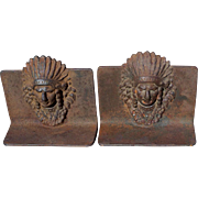 SOLD Vintage Cast Iron Native American Indian Cheif Bookends