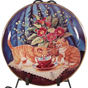 SALE Tea for Two Cat Collector Plate by K. Duncan