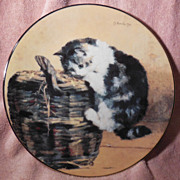 SALE A Curious Kitty Cat Collector Plate from the Victorian Cat Capers Collection by Charles V