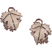 1960's Silver Tone and White Enamel Whispering Leaves Clip on Earrings Signed SAC