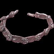 SALE Signed Trifari Clear Rhinestone Brushed Silver Tone Ribbon Link Bracelet