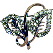 SALE Clear Rhinestone Double Leaf Pin Silver Tone Setting