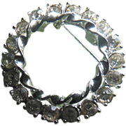 SALE Beautiful Clear Rhinestone Double Circle Pin