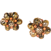 Vintage Hong Kong Black Gold and Brown Beaded Clip On Earrings