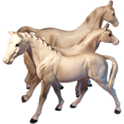 Three White Porcelain Horses Numbered Japan