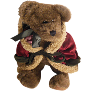 SALE The Boyd's Collection Ltd.  J B Bean Plush Dark Brown Bear Red Velvet Trimmed Hooded Sa