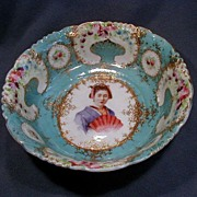 Early Porcelain Geisha Girl Portrait Bowl