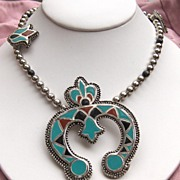 SALE Bold and Beautiful Turquoise, Black and Terracotta Necklace Copy of Squash Blossom Neckla