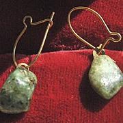 Small Jade Stone Pierced Earrings