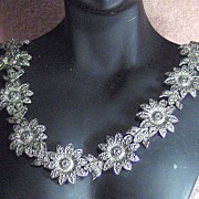 SALE Beautiful Silver Tone Sunflower and Bird Necklace Choker